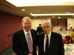 William Glasser and Thomas Szasz at the 2005 Evolution of Psychotherapy conference. Glasser and Szasz were not close during their careers, but they did agree that there was no such thing as mental illness.