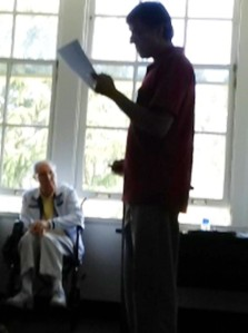 Jeff Tirengel's picture of me presenting during the first breakout session with Glasser in the background.