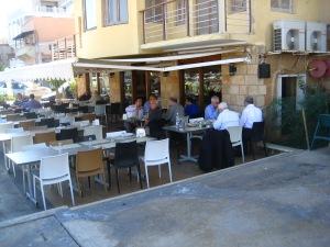 The restaurant beside the small harbor.