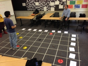 Professor Tom Lee and his amazing grid on the carpet.