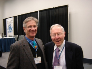 Bob Wubbolding, who wrote the Foreword for the biography, and Glasser at the Evolution of Psychotherapy Conference in 2005.
