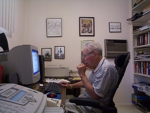 William Glasser at work in his home office. (2004) Jim Roy photo.