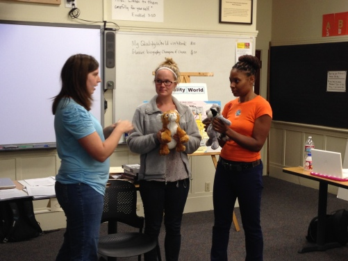 Chart presentations: Puppets can be used to help students process their behavioral center choices.