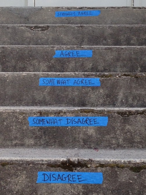 The stairs leading to the front door of the Education building. I'm not sure which class in which this idea was used, but I like it!