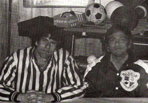 Me when I first began teaching at Kingsway, in my referee jacket. Ralph Jurianz is on the right. We were student association sponsors that year.