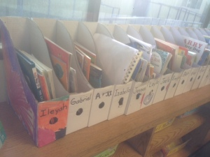 Student books waiting to be read.