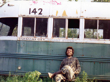 Chris, in front of the bus that was his Alaska home until the end.