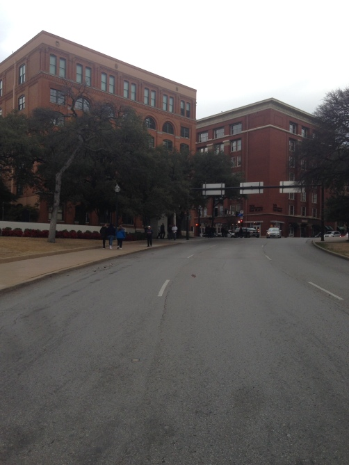Taken from the exact spot on which JFK was fatally hit, looking back up to the sixth floor window from which the shot was fired.