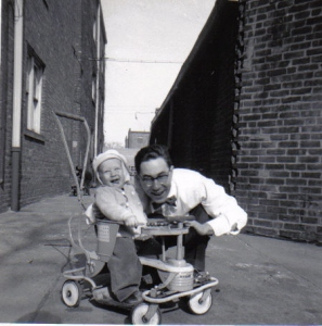 A young Bill Glasser and one year old, Joe, his first child. (circa 1952)