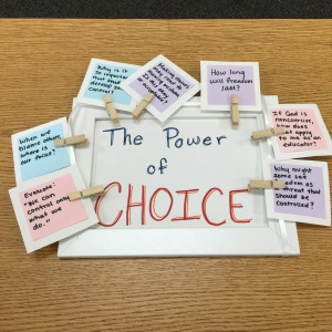 Each of the cards have responses on the other side. (A student creation from Ethical Dimensions.)