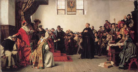 "A painting (photographers were not allowed into the hall) of Luther declaring that ""I cannot and will not recant."""