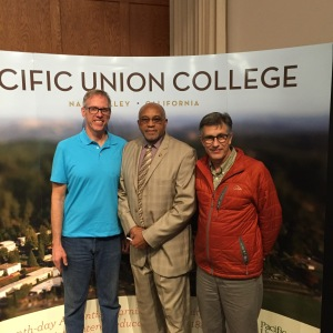 Dr. Tommie Smith, with fellow educators Dr. Bob Paulson on the left and Dr. Jim Roy on the right. (Feb 16, 2016)