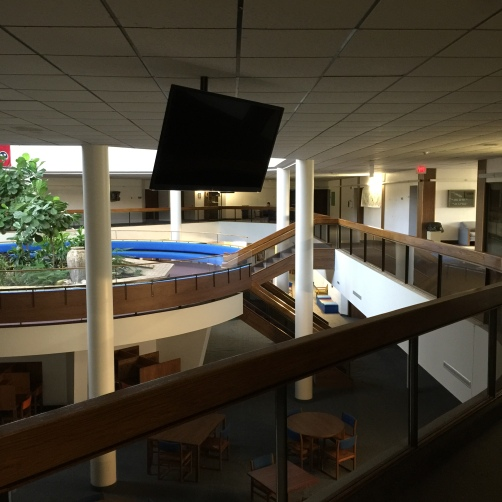 The administration and classroom area atrium. The entire school - classrooms, dorms, and gym - is under one roof.