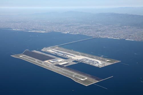 This is where I will be landing in Japan - Kansai International Airport - an incredible airfield built in the middle of a bay on landfill.